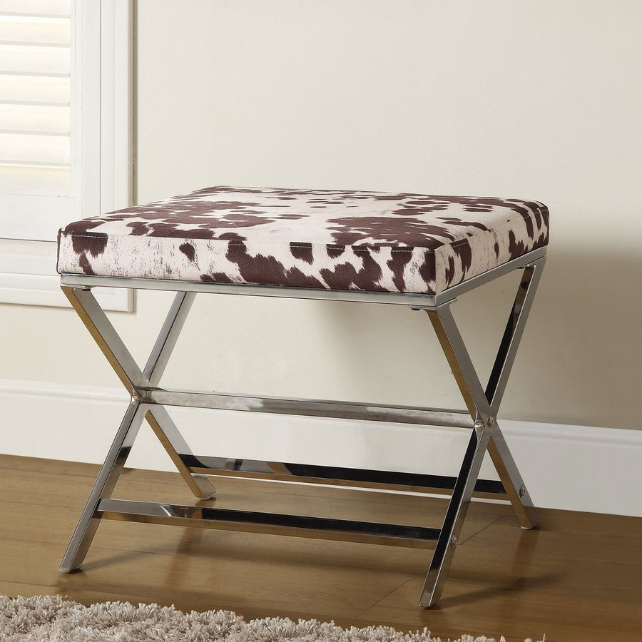 Coaster Fine Furniture Country White/Brown Velvet Ottoman