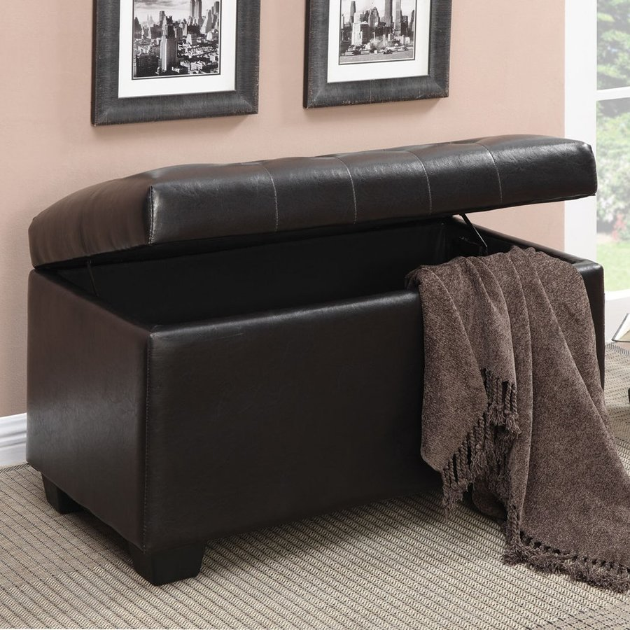 Coaster Fine Furniture Dark Brown Vinyl Ottoman