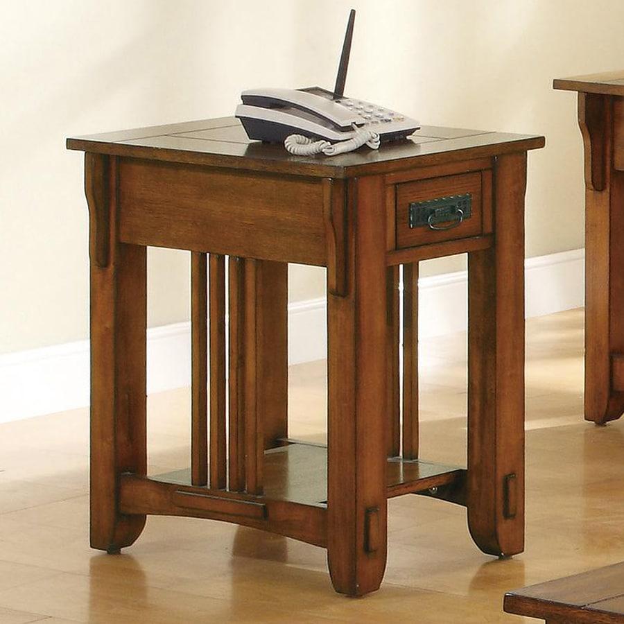 Coaster Fine Furniture Oak Poplar Rectangular End Table
