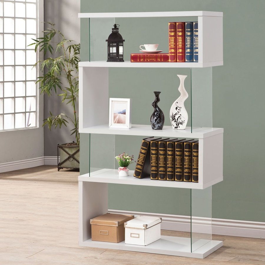 Coaster Fine Furniture White 35.5-in W x 63-in H x 11.75-in D 4-Shelf Bookcase