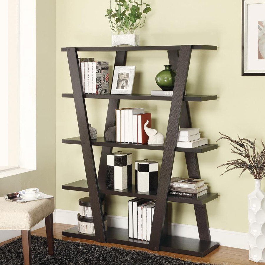 Coaster Fine Furniture Cappuccinowood 4 Shelf Ladder Bookcase In The Bookcases Department At Lowes Com