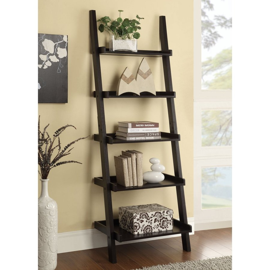 Coaster Fine Furniture Cappuccino 25-in W x 72-in H x 16.5-in D 5-Shelf Bookcase