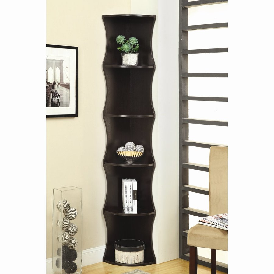 Coaster Fine Furniture Cappuccino 11.5-in W x 76.75-in H x 11.5-in D 5-Shelf Bookcase