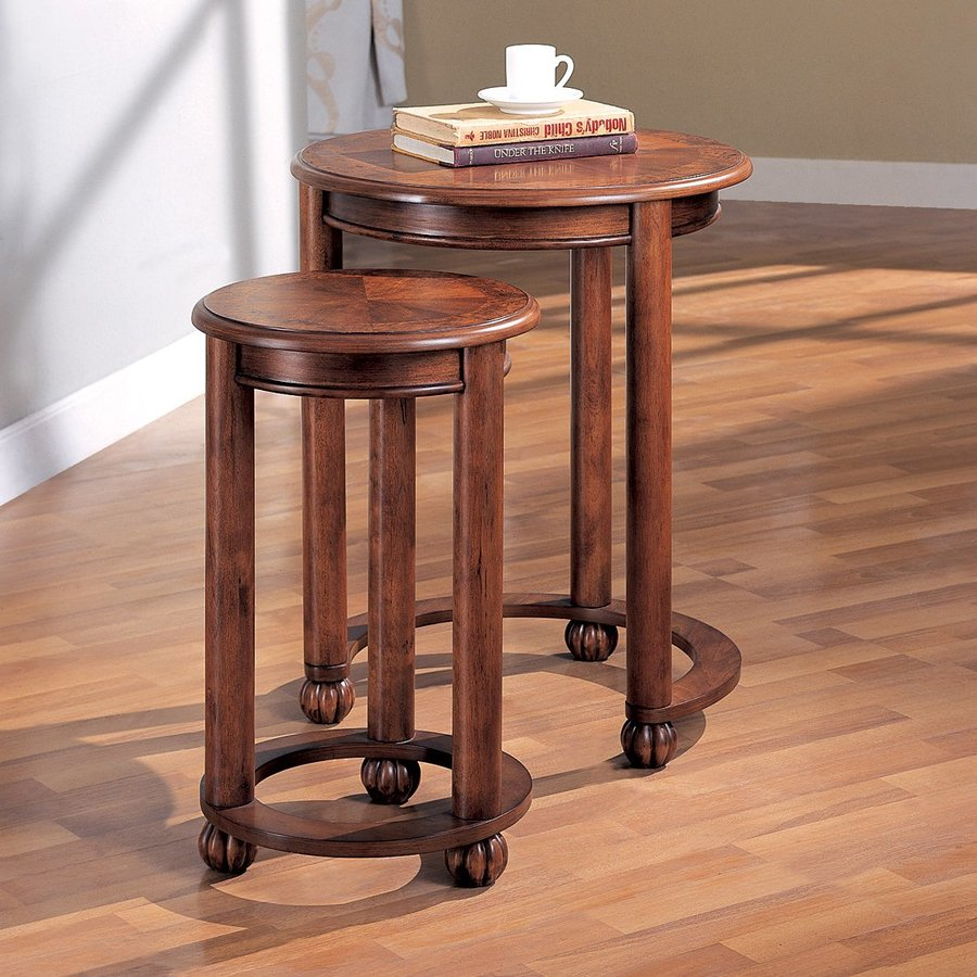 Coaster Fine Furniture 2-Piece Cherry Accent Table Set