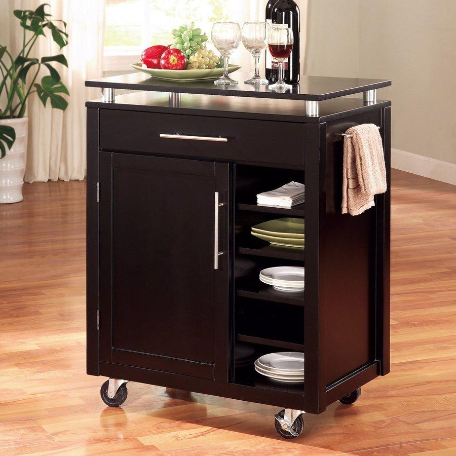 Coaster Fine Furniture 28-in L x 17.25-in W x 35.5-in H Black Kitchen Island Casters