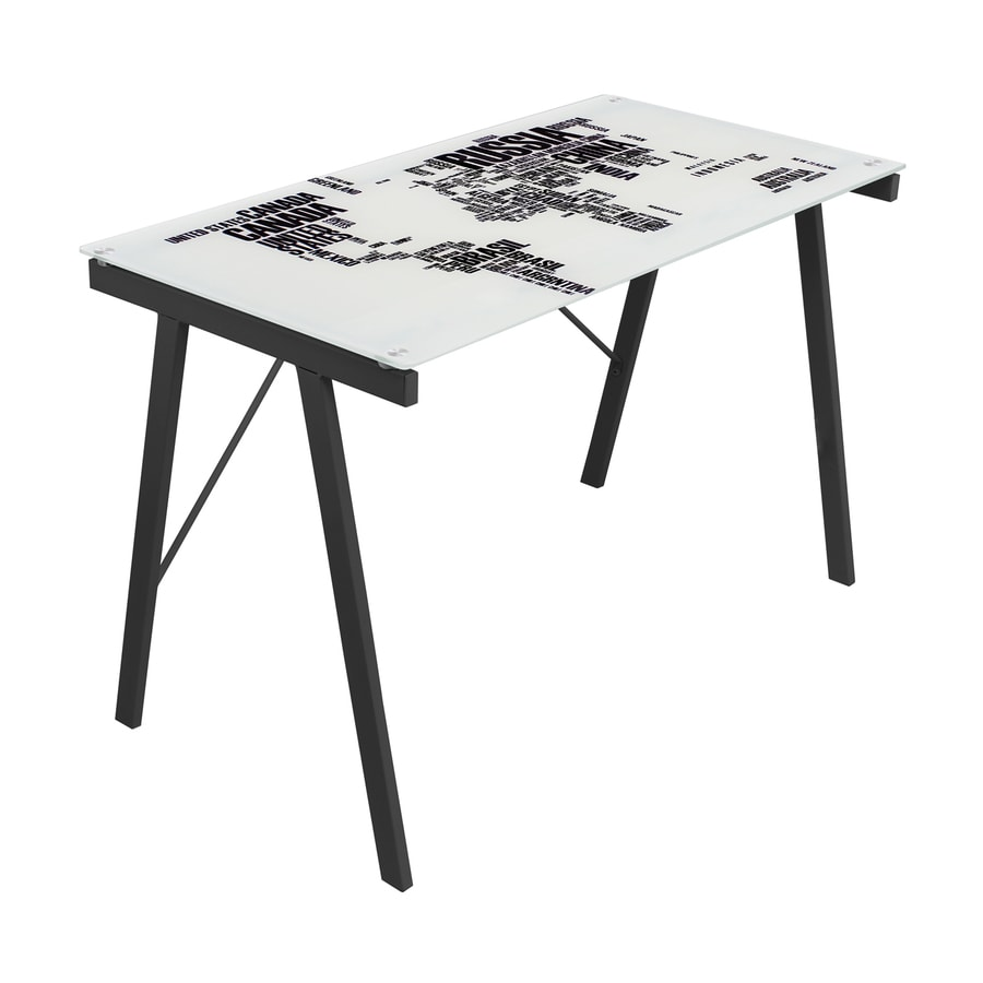 Lumisource World Map Black/White Writing Desk