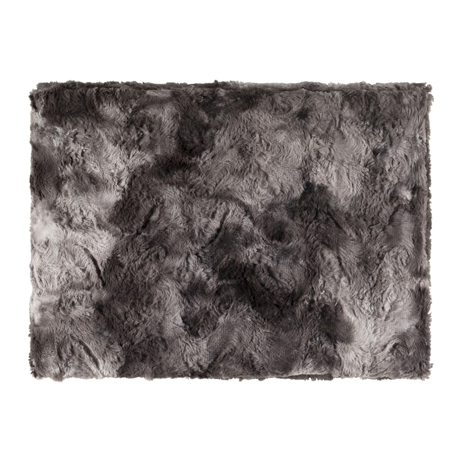 Surya Felina Black/Gray 70-in L x 50-in W Polyester Faux Fur Throw