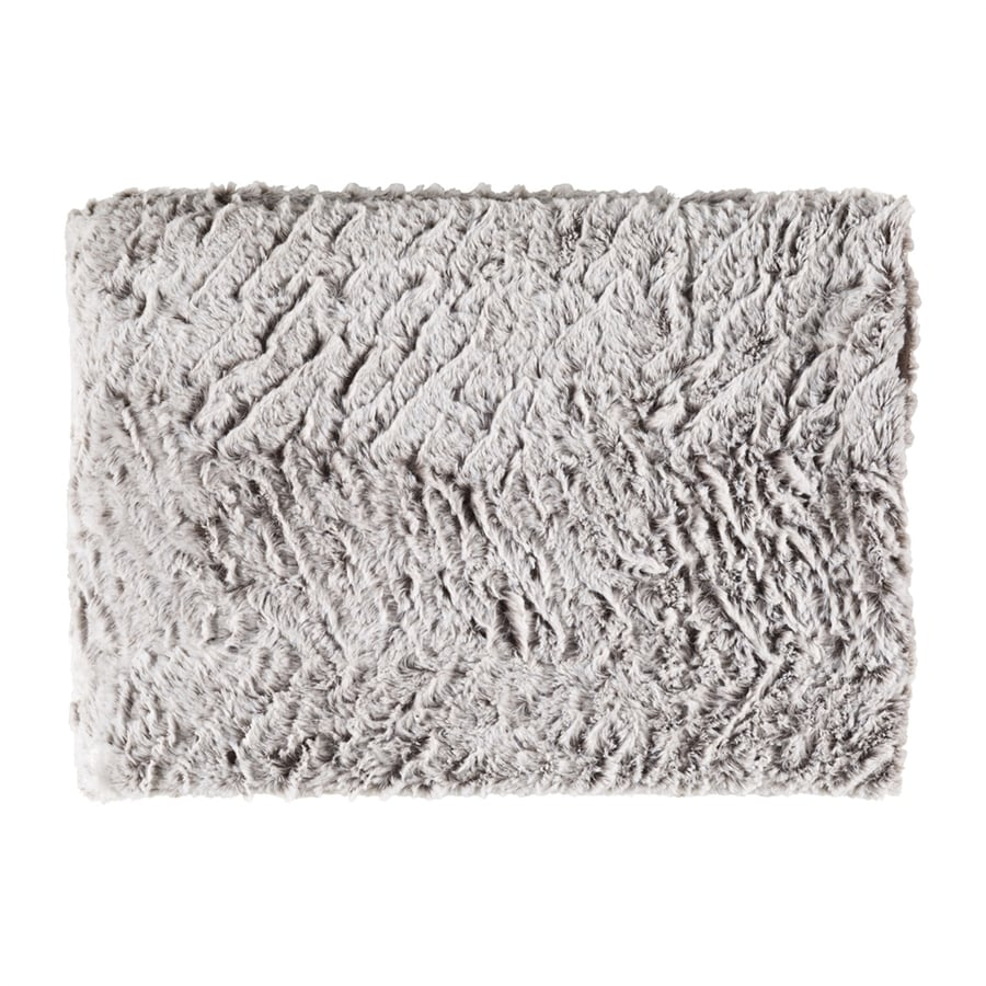 Surya Felina Medium Gray/White 70-in L x 50-in W Polyester Faux Fur Throw