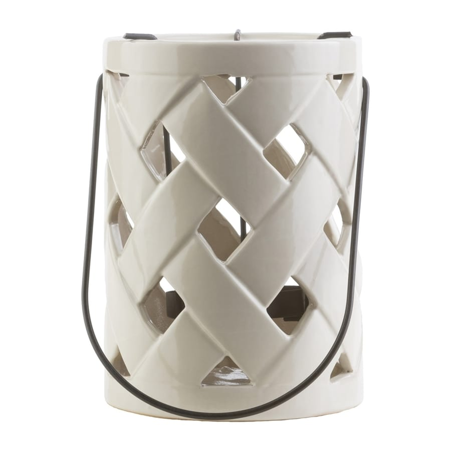 Surya 1 Candle Galilee Ivory Ceramic Lantern Any Occasion Candle Holder
