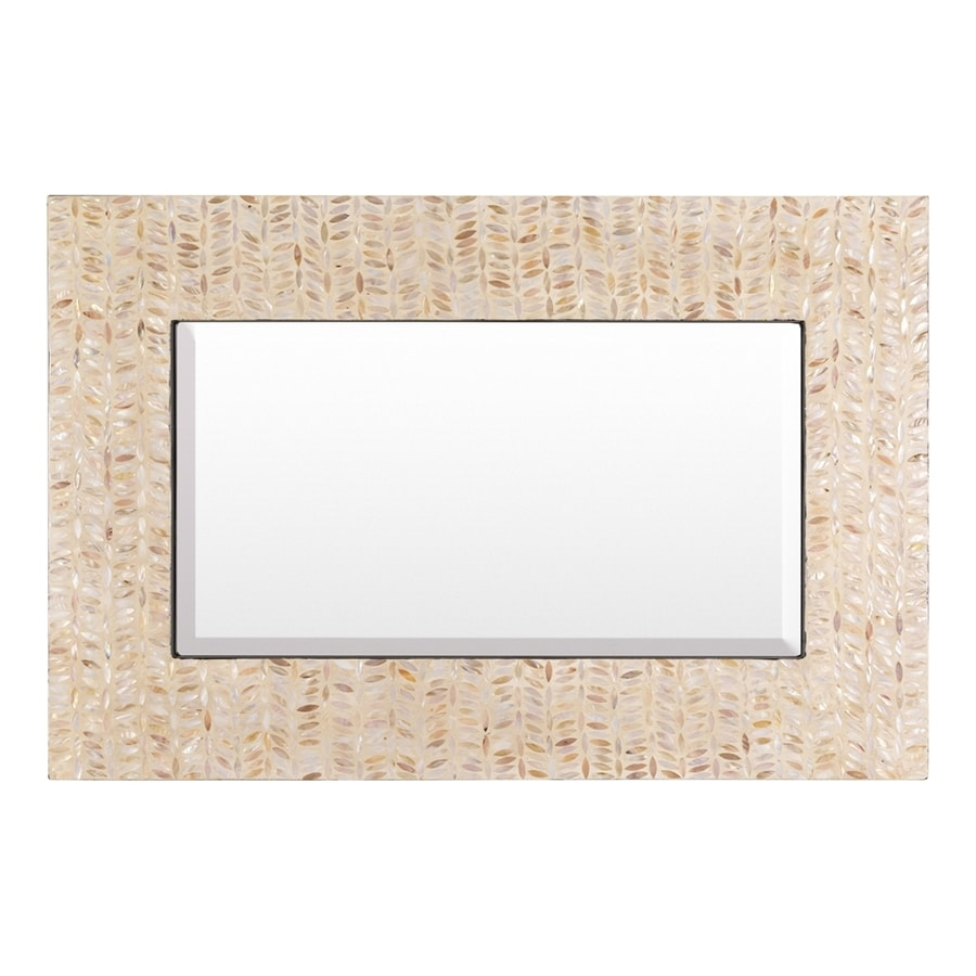 Surya Lakeview Ivory Beveled Wall Mirror