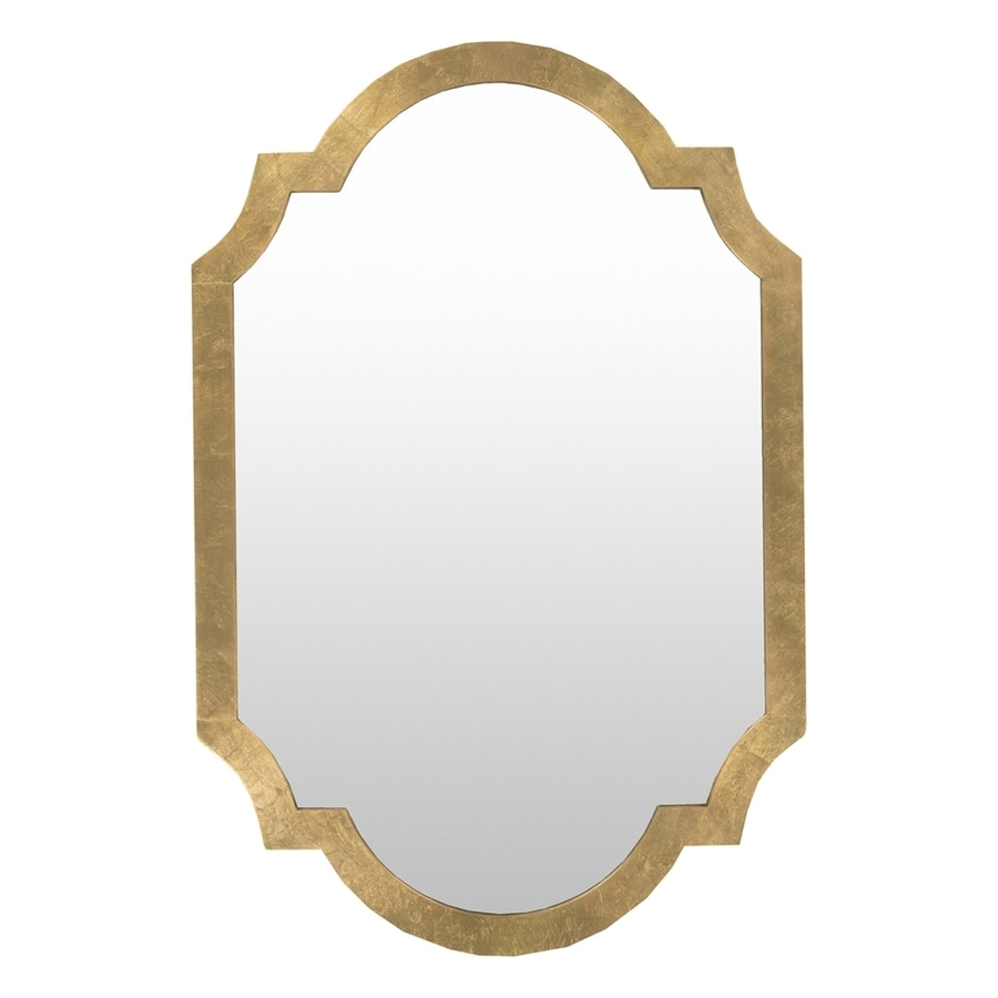 Surya 30-in x 45-in Aged Gold Polished Arch Framed French Wall Mirror
