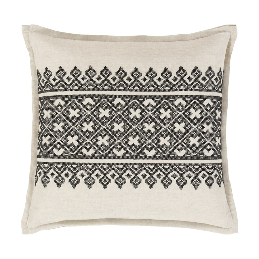 Surya Pentas 18-in W x 18-in L Black/Neutral Square Indoor Decorative Pillow