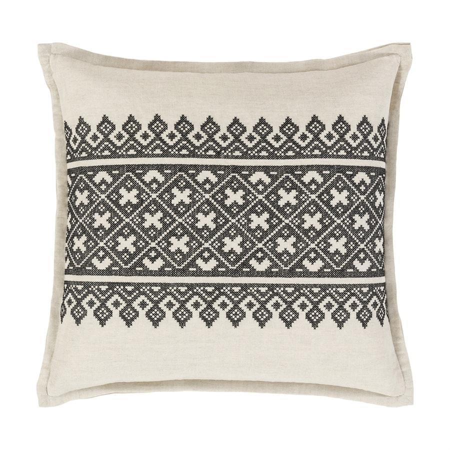 Surya Pentas 18-in W x 18-in L Black/Neutral Square Indoor Decorative Pillow