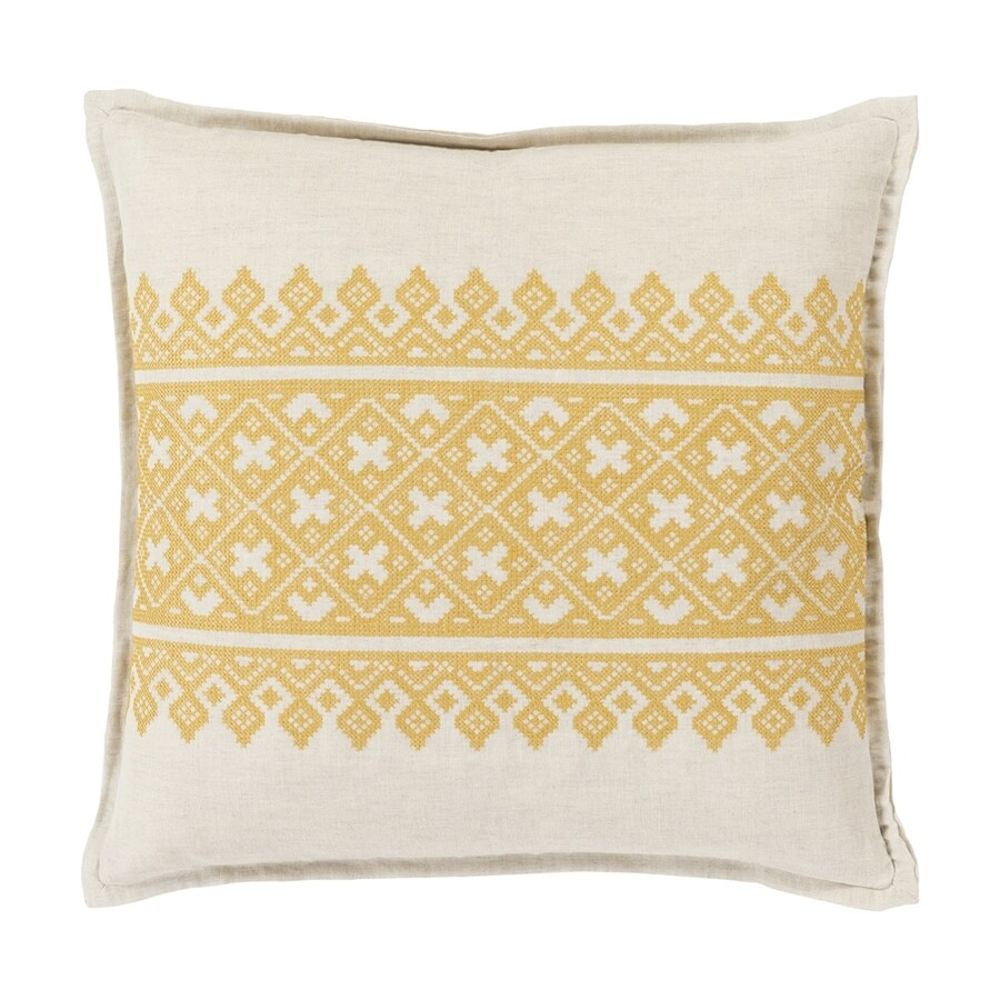 Surya Pentas 18-in W x 18-in L Yellow/Neutral Indoor Decorative Pillow