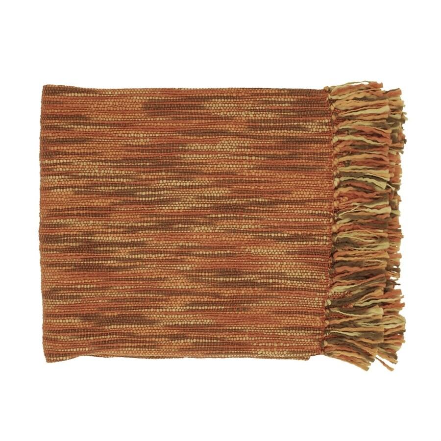 Surya Teegan Rust/Brown/Camel 78-in L x 55-in W Acrylic Throw