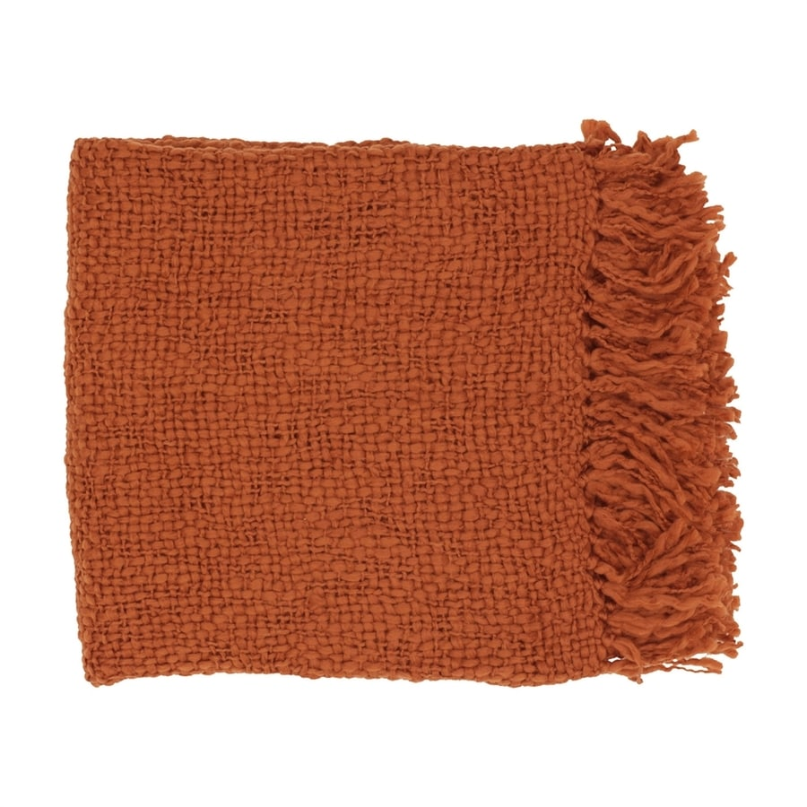 Surya Tobias Rust 71-in L x 51-in W Blend Throw