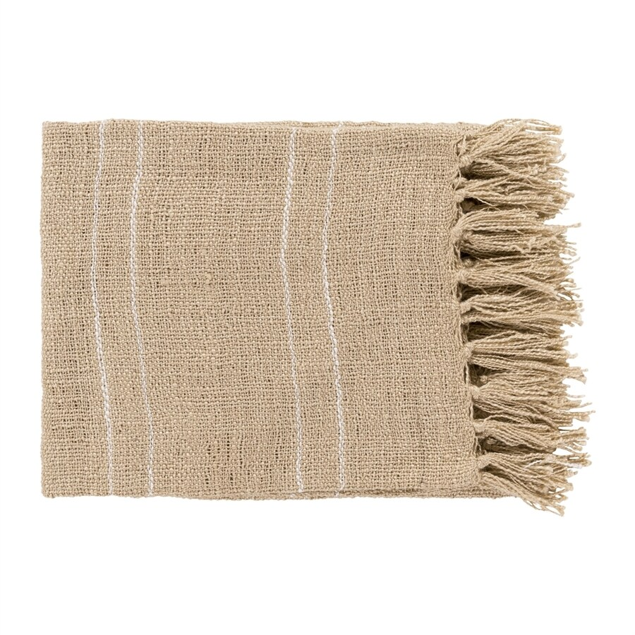 Surya Traveler Khaki 60-in L x 50-in W Acrylic Throw
