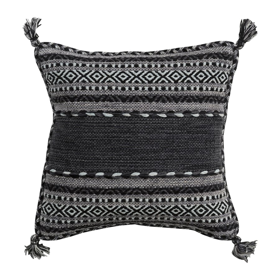 Surya Trenza 22-in W x 22-in L Black/Gray Indoor Decorative Pillow