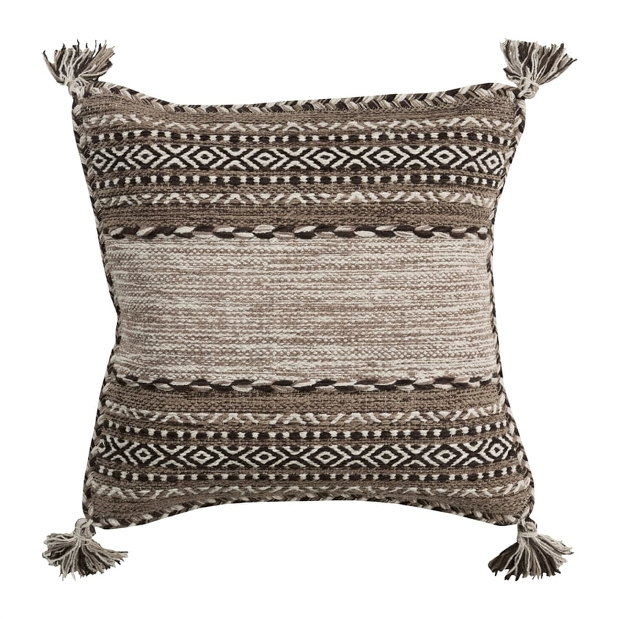 Surya Trenza 22-in W x 22-in L Brown Square Indoor Decorative Pillow