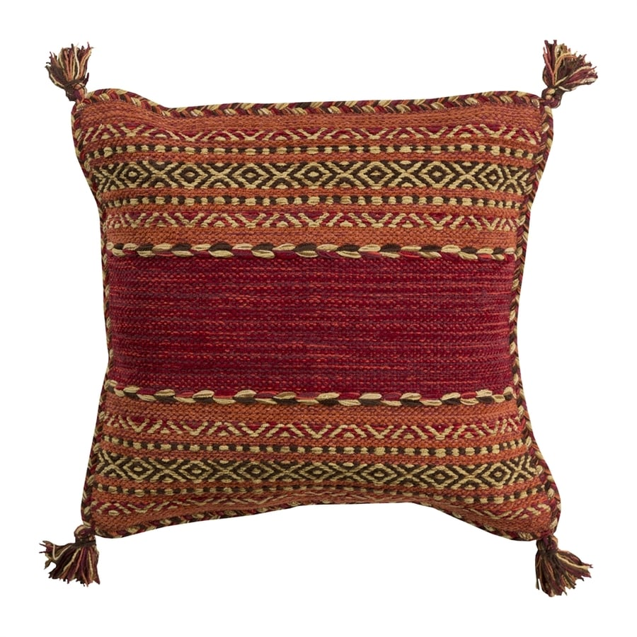 Surya Trenza 22-in W x 22-in L Red/Orange Indoor Decorative Pillow