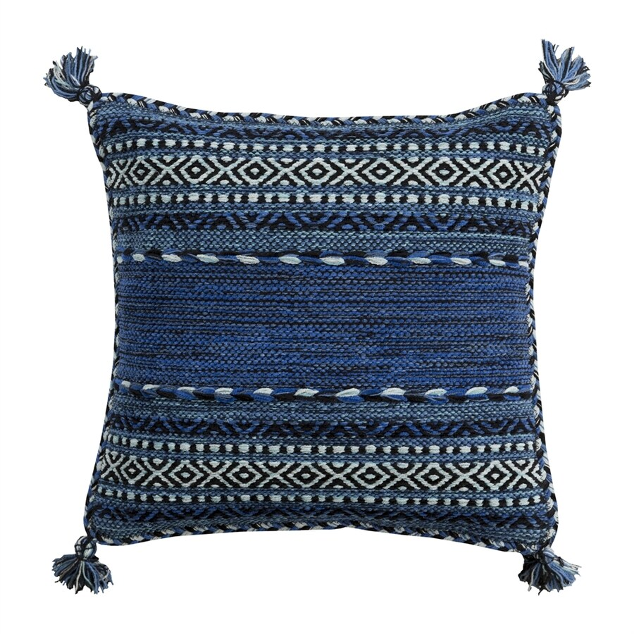 Surya Trenza 22-in W x 22-in L Blue Square Indoor Decorative Pillow