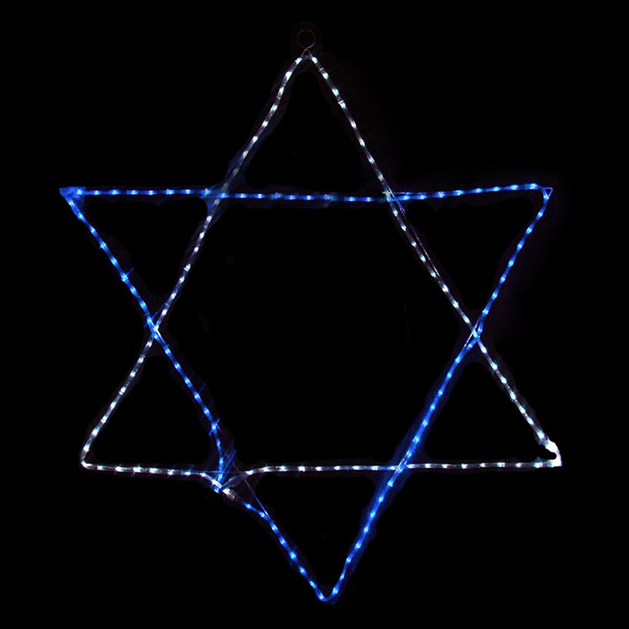 Northlight PVC Hanging Star Of David with Blue and White LED Lights
