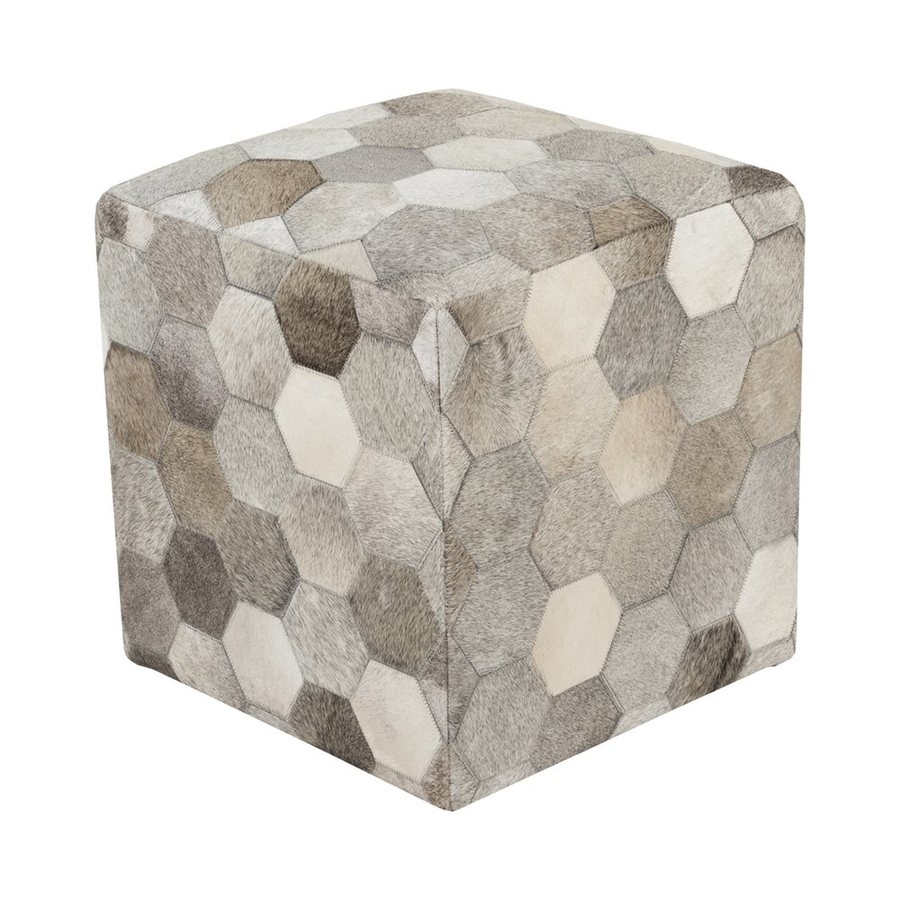 Surya Trail Hexagons Light Gray/Olive Hide Square Ottoman