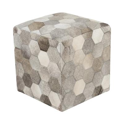 Wondrous Surya Trail Hexagons Modern Light Gray Olive Genuine Leather Inzonedesignstudio Interior Chair Design Inzonedesignstudiocom