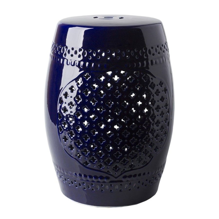Shop Surya Auburndale 18 1 In Blue Ceramic Barrel Garden