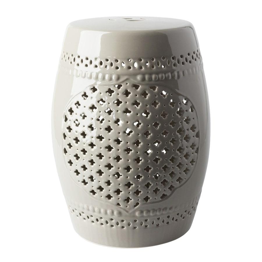 Surya Auburndale 18.1-in Gray Ceramic Barrel Garden Stool