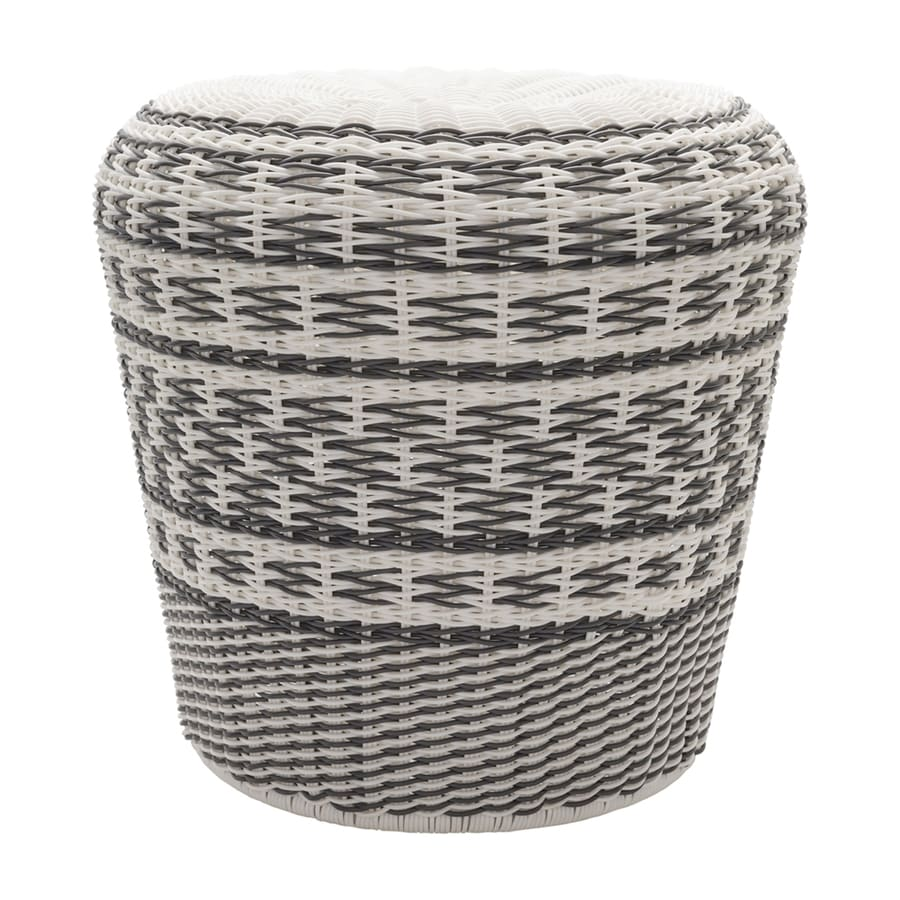 Surya Parkdale 17.7-in Charcoal Wicker Barrel Garden Stool