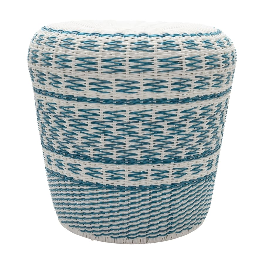 Surya Parkdale 17.7-in Sky Blue Wicker Barrel Garden Stool