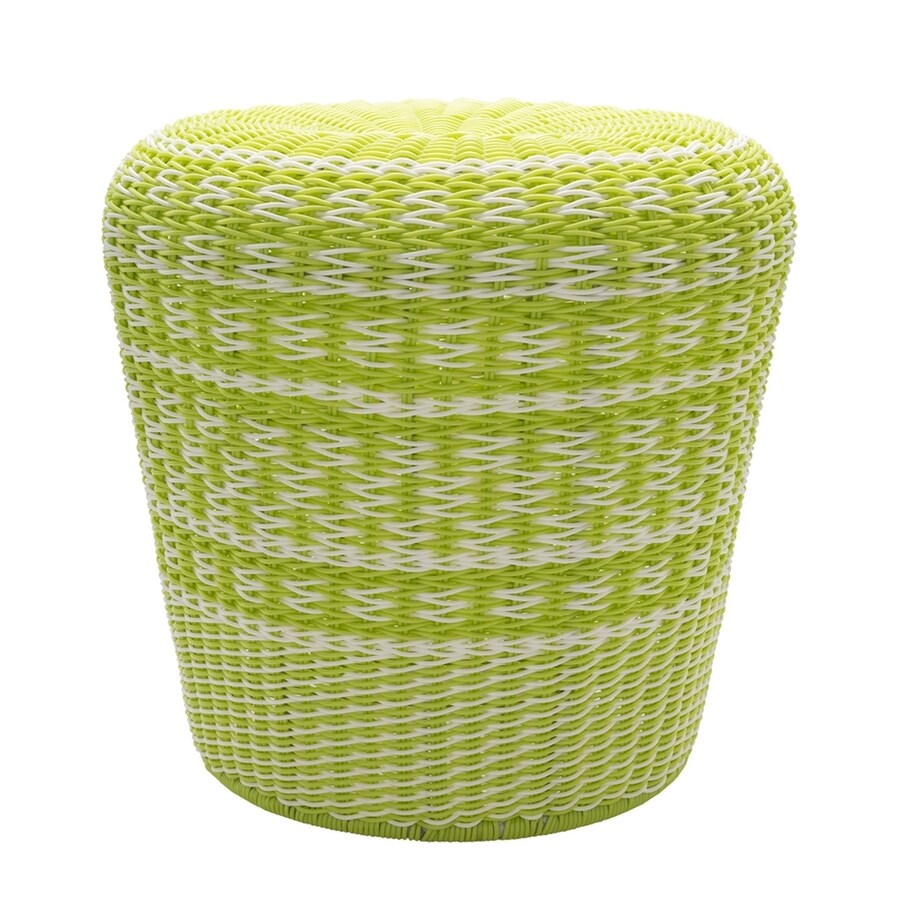 Surya Parkdale 17.7-in Lime Wicker Barrel Garden Stool