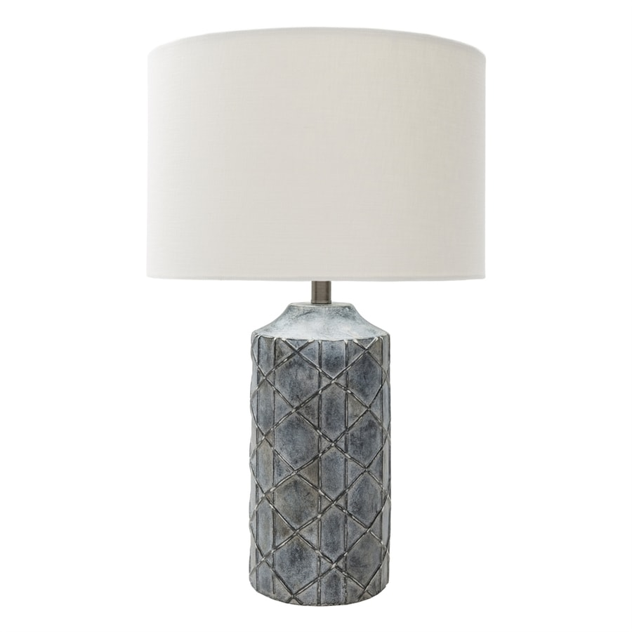 Surya Brenda 26.75-in Gray Electrical Outlet Table Lamp with Fabric Shade