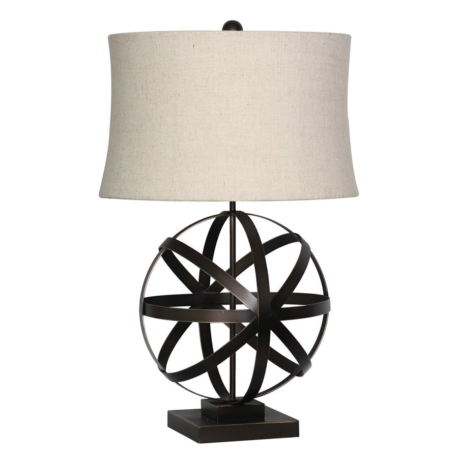 Surya 26-in Bronze Electrical Outlet Table Lamp with Fabric Shade