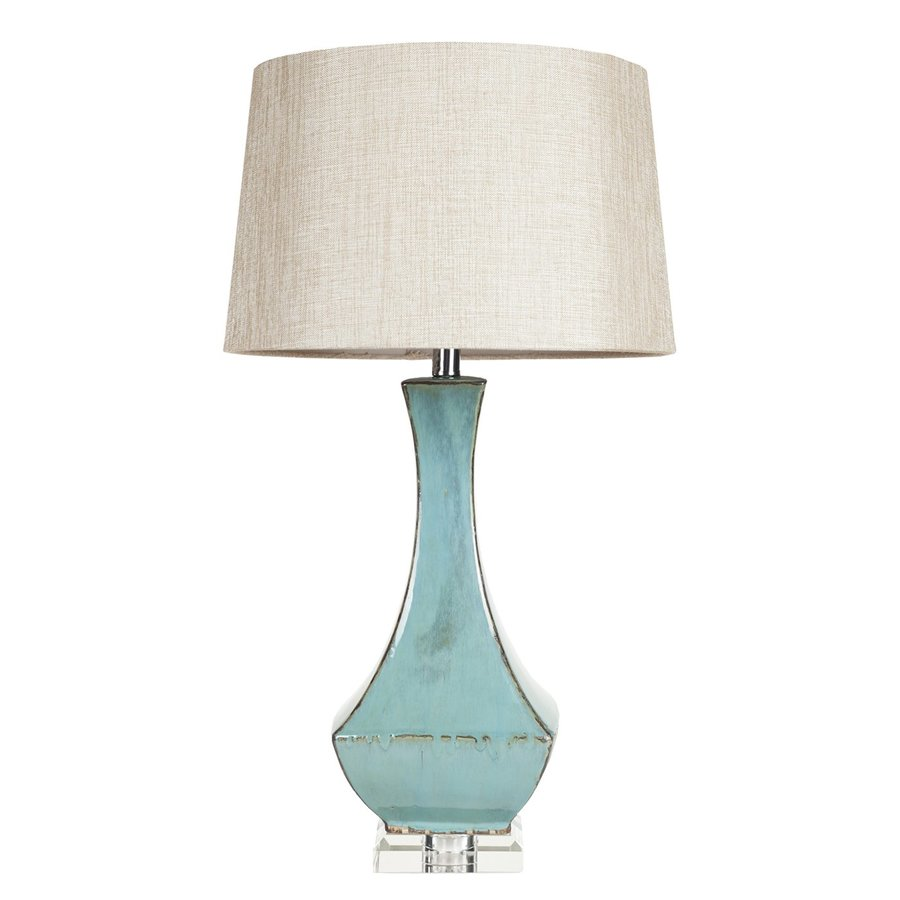 Surya 30-in Blue Electrical Outlet Table Lamp with Fabric Shade