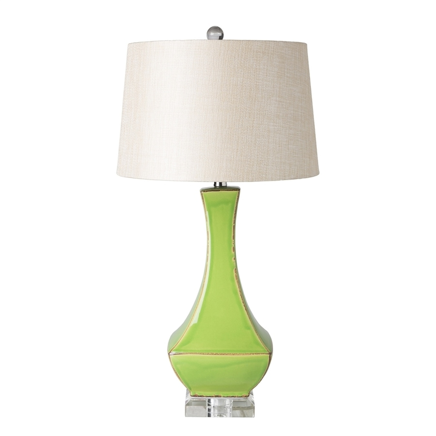 Surya Belhaven 30.5-in Green Electrical Outlet Table Lamp with Fabric Shade
