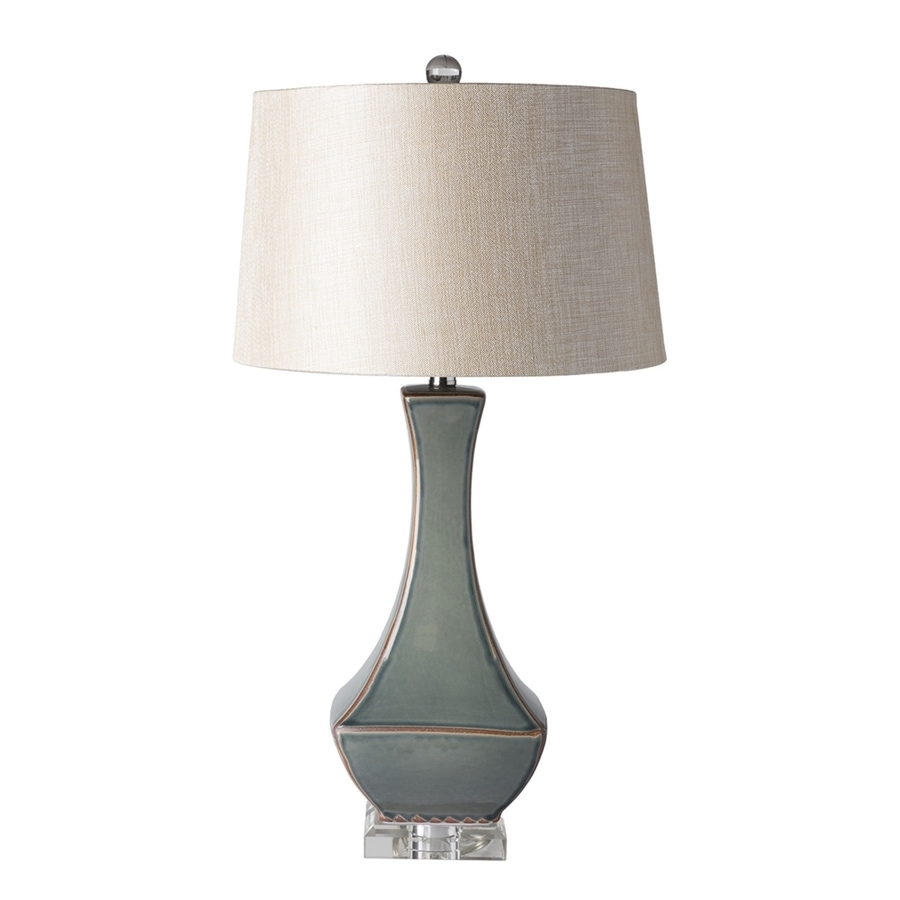 Surya Belhaven 30 5 In Gray Electrical Outlet Table Lamp With Fabric Shade