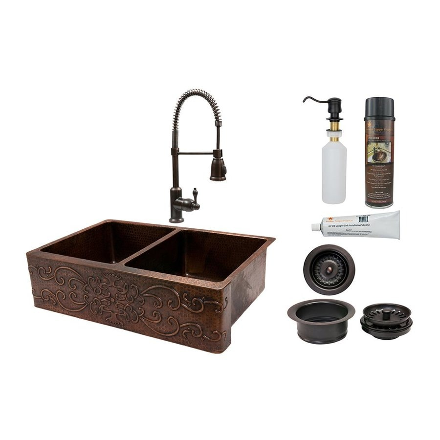 Premier Copper Products 22-in x 33-in Oil-Rubbed Bronze Double-Basin Copper Apron Front/Farmhouse Residential Kitchen Sink All-In-One Kit