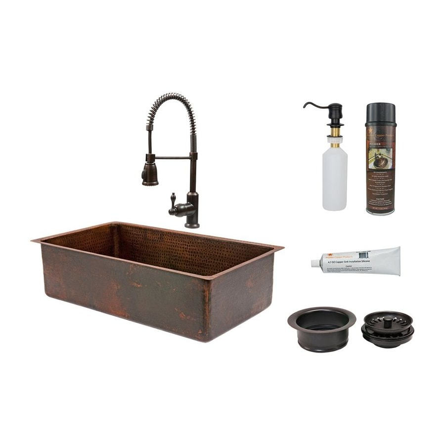 Premier Copper Products 19-in x 33-in Oil-Rubbed Bronze Single-Basin-Basin Copper Undermount (Customizable)-Hole Residential Kitchen Sink All-In-One Kit