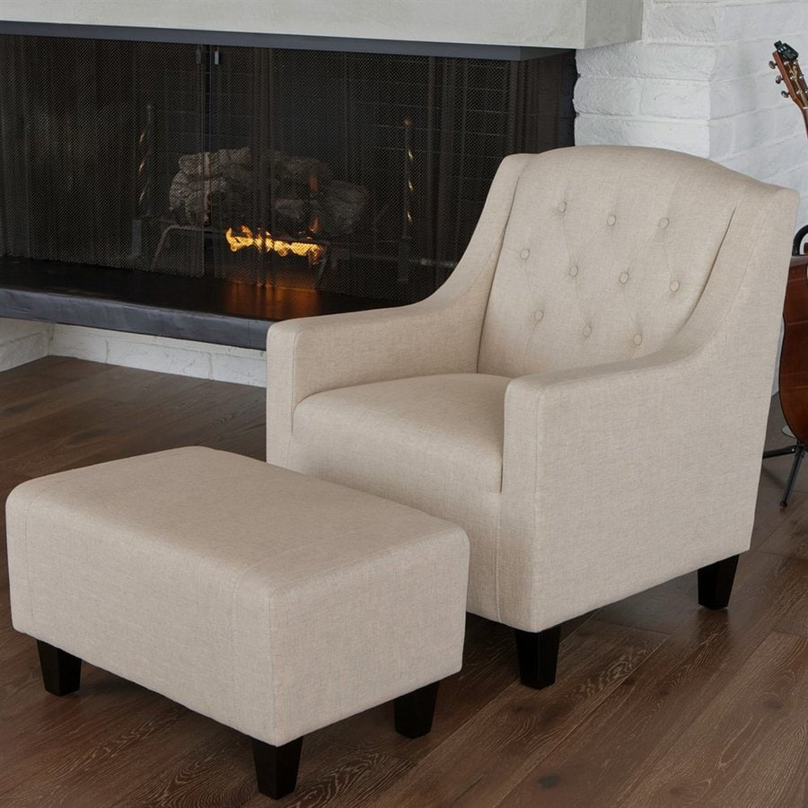 Shop best selling home decor elaine grey beige club chair for Best chair and ottoman