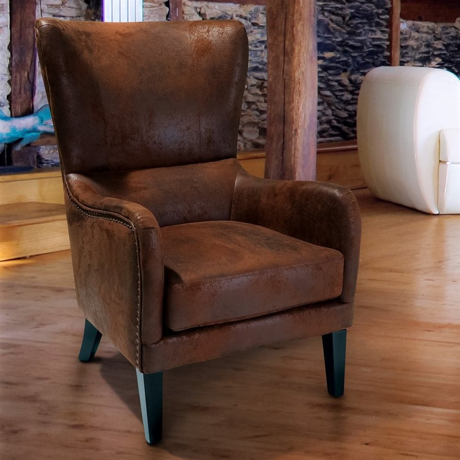 Best Selling Home Decor Lorenzo Rustic Distressed Brown Microfiber Club  Chair