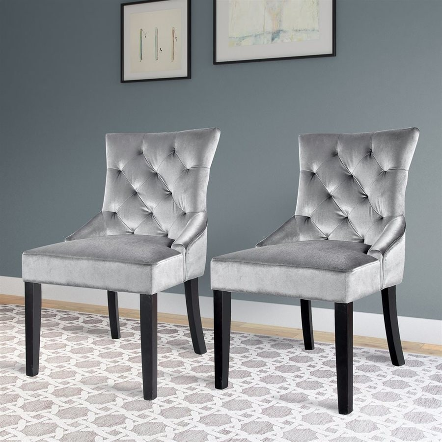CorLiving Set Of 2 Antonio Midcentury Grey Velvet Accent Chair