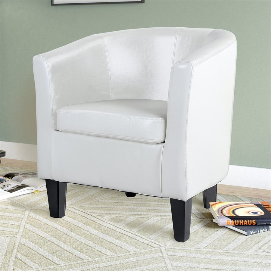 CorLiving Antonio White Faux Leather Club Chair