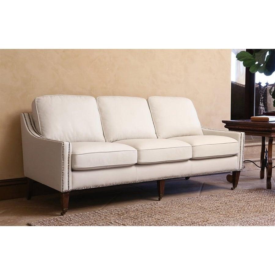 Abbyson Living Monica Pedersen Ivory Leather Sofa
