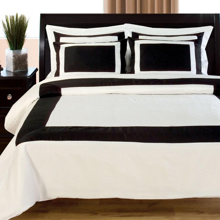 Egyptian Linens Hotel 5-Piece Black/White Full/Queen Duvet Cover Set