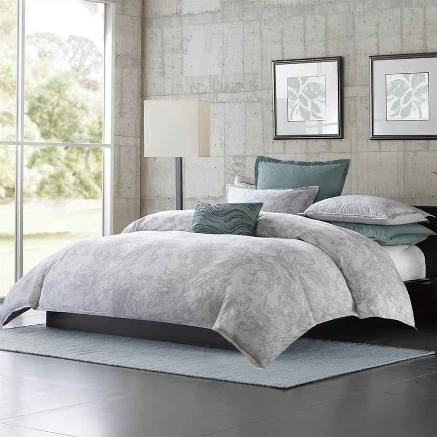 shop metropolitan home marble 3 piece grey queen comforter set at
