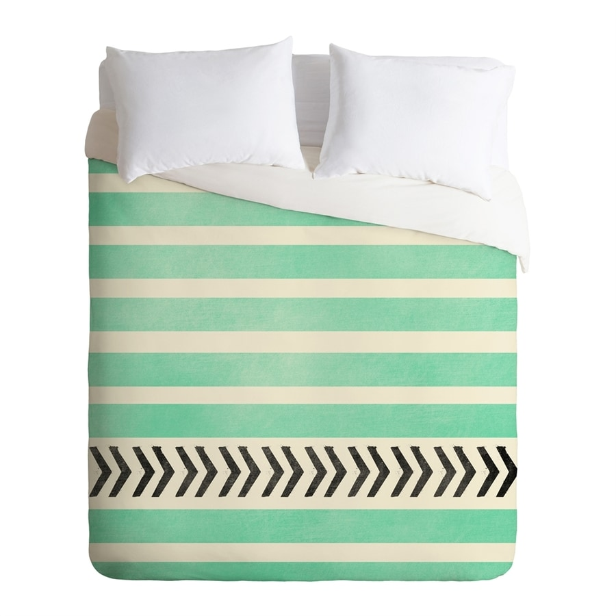 DENY Design Mint Stripes and Arrows Multicolored Queen Duvet Cover