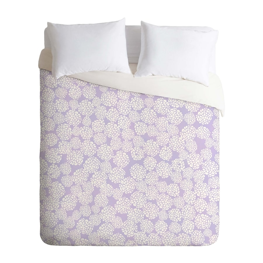 Deny Designs Dahlias In Periwinkle Multicolored Queen Duvet Cover