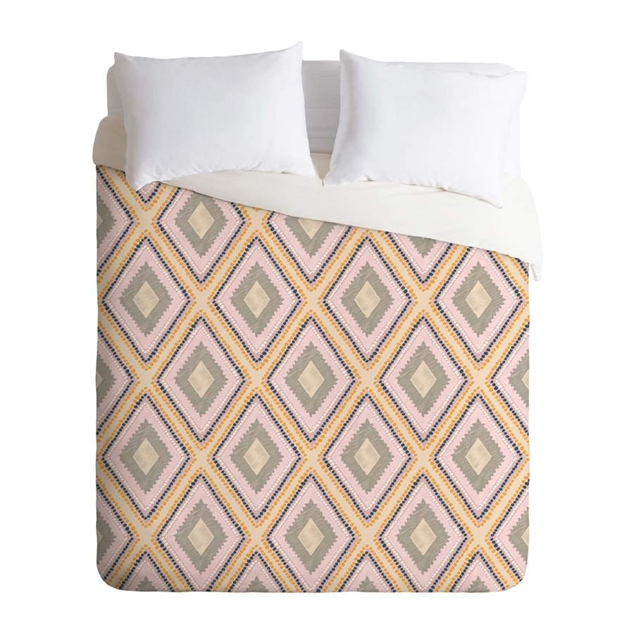 Deny Designs Woodland Diamond Pink Multicolored Queen Duvet Cover